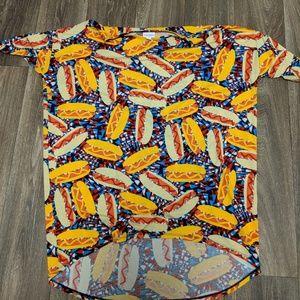 Tops - LuLaRoe Large Hot Dog Irma Shirt